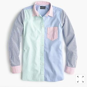 J Crew colorful cocktail button up boy shirt pink